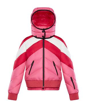 16d007c9935 Moncler Charix Detachable-Hood Colorblock Puffer Coat, Size 4-6