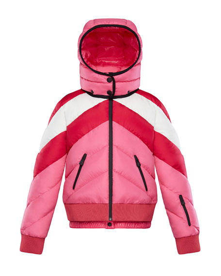 Moncler Charix Detachable-Hood Colorblock Puffer Coat, Size 4-6