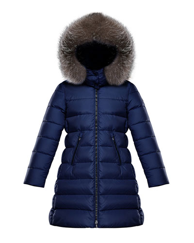 Abelle Long Quilted Puffer Coat w/ Fur Trim  Size 8-14