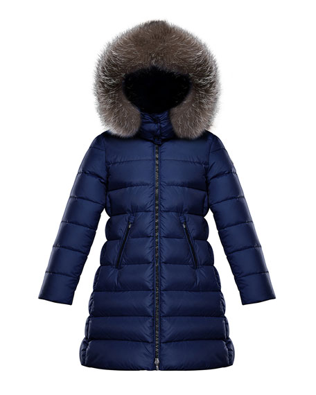Moncler Abelle Long Quilted Puffer Coat w/ Fur Trim, Size 8-14