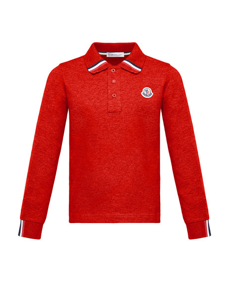Moncler Long-Sleeve Polo Half-Button Shirt, Red, Size 8-14