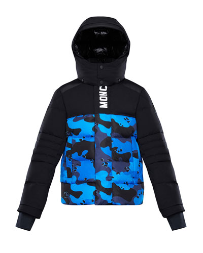 Arpon Detachable-Hood Quilted Jacket w/ Camo Print  Size 4-6
