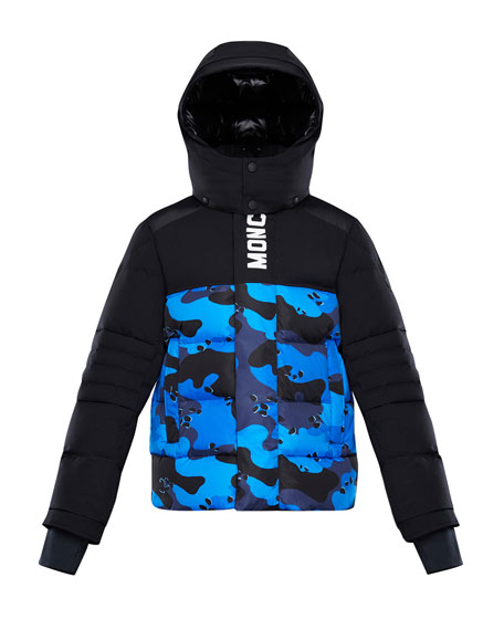 Image 1 of 2: Moncler Arpon Detachable-Hood Quilted Jacket w/ Camo Print, Size 4-6