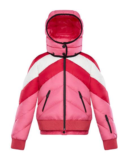 Moncler Charix Detachable-Hood Colorblock Puffer Coat, Size 8-14