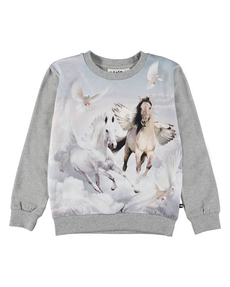 Molo Girl's Regine Winged Horse Print Tee, Size 3-12
