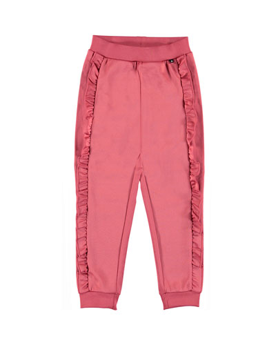 Girl's Aline Ruffle Trim Sweatpants, Size 4-12