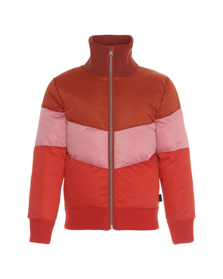 Molo Girl's Hedia Water-Repellant Colorblock Puffer Bomber Jacket, Size 4-16