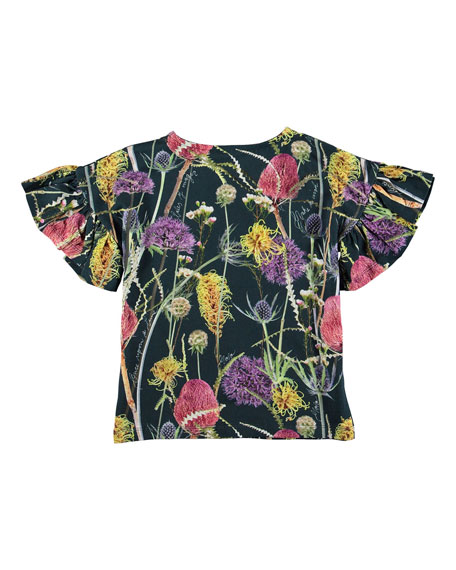 Molo Girl's Rayah Flutter Sleeve Floral Print T-Shirt, Size 3-12