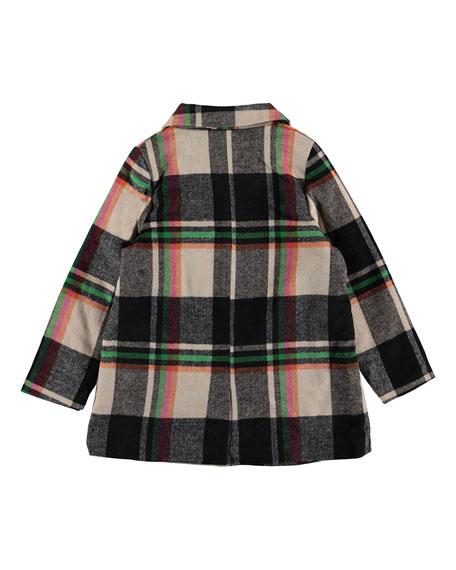 Molo Girl's Hilda Check Pea Coat, Size 4-16