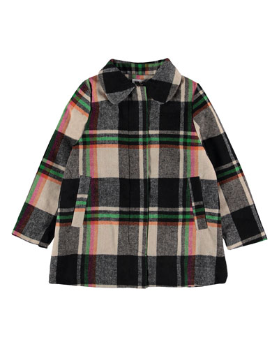 Girl's Hilda Check Pea Coat, Size 4-16