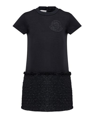 Girl's Short-Sleeve Metallic Skirt Fringe Dress  Size 8-14