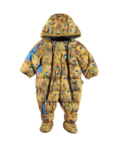 Hebe Water-Repellant Peacock Feather Print Puffer Snowsuit, Size 3-12 Months