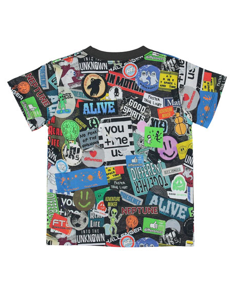 Molo Boy's Road Sticker Print Tee, Size 4-12