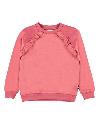 Girl's Michaela Ruffle Trim Sweatshirt, Size 4-12