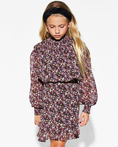 Bardot Junior Girl's Grace Shirred Floral Print Top, Size 8-16