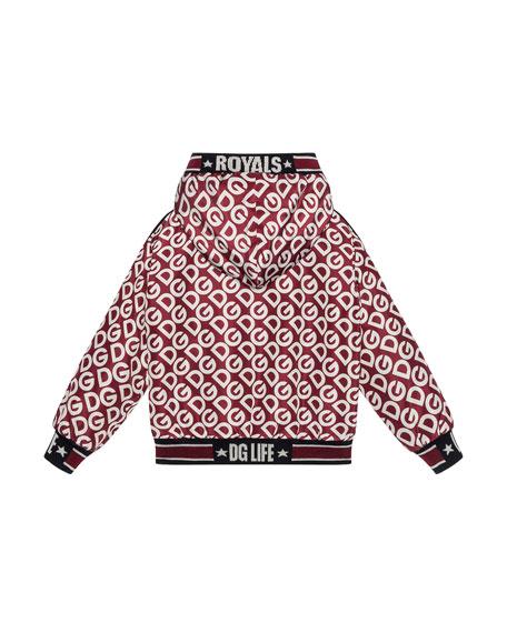 Dolce & Gabbana Kid's DG Print Zip-Up Hooded Jacket, Size 8-12