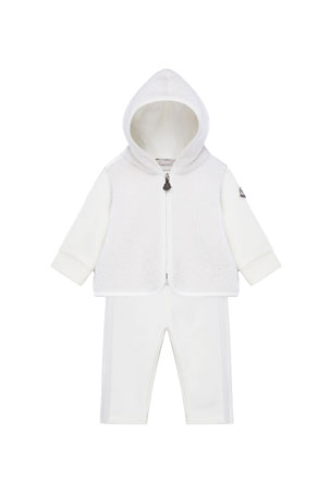 Moncler Wool-Blend Zip Hoodie w/ Matching Sweatpants, Size 6M-3