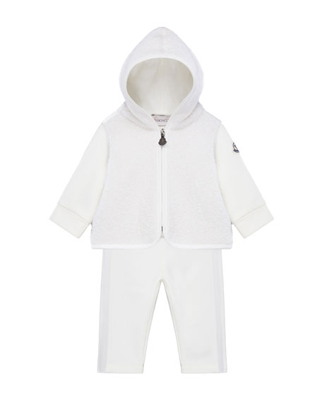 Moncler Wool-Blend Zip Hoodie w/ Matching Sweatpants, Size 6M-3