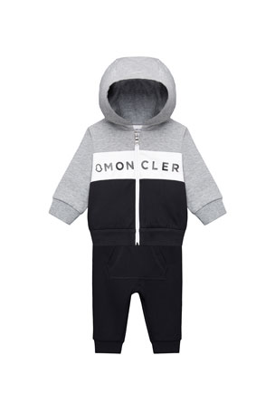 Moncler Zip-Up Hoodie w/ Matching Sweatpants, Size 12M-3