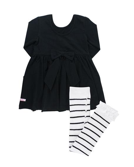 RuffleButts Solid Long-Sleeve Twirl Dress w/ Striped Tights, Size 3M-3T