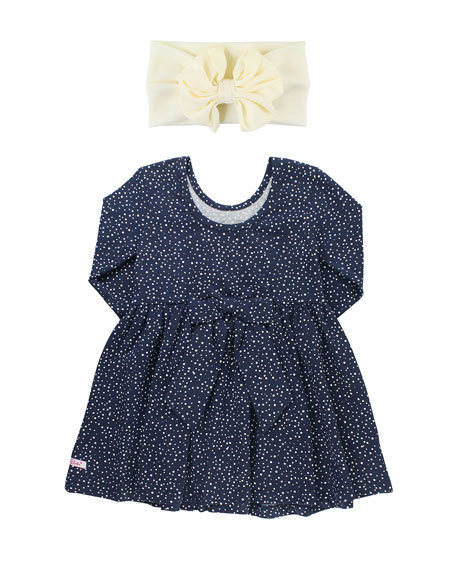RuffleButts Dot-Print Swirl Dress w/ Bow Headband, Size 3M-3T