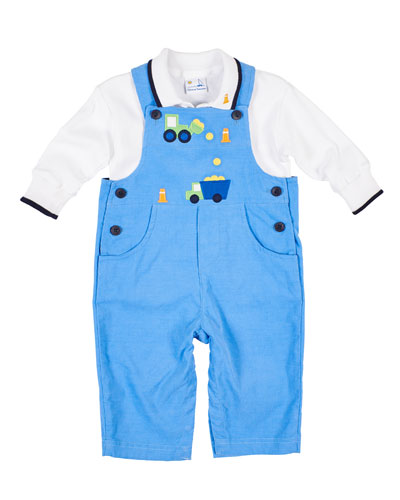 Construction Zone Corduroy Overalls w/ Polo Shirt  Size 6-24 Months