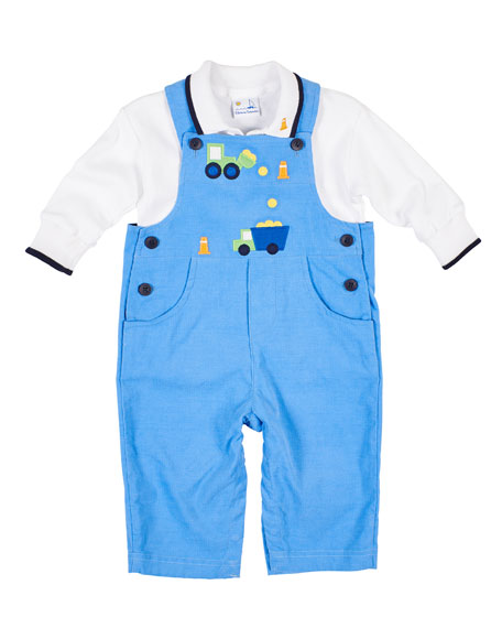 Florence Eiseman Construction Zone Corduroy Overalls w/ Polo Shirt, Size 6-24 Months