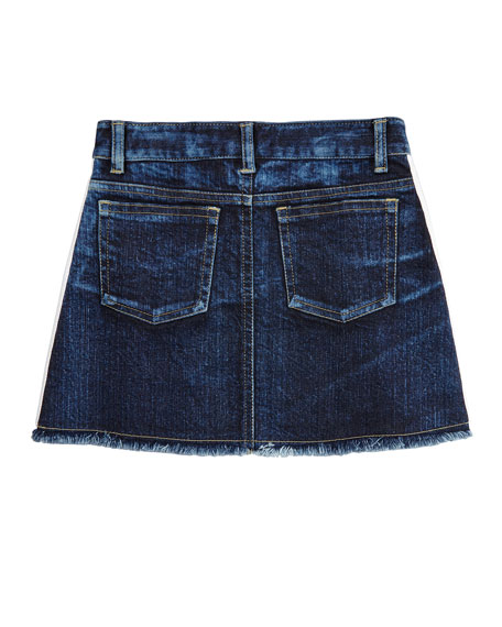 Flowers By Zoe Girl's Denim Raw Edge Skirt w/ Metallic Taping, Size S-XL