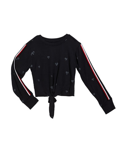 Girl's Enzyme Wash Heart-Print Tie Front Sweatshirt  Size S-XL