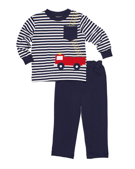 Florence Eiseman Stripe Knit Fire Truck Shirt w/ French Terry Pants, Size 9-24 Months