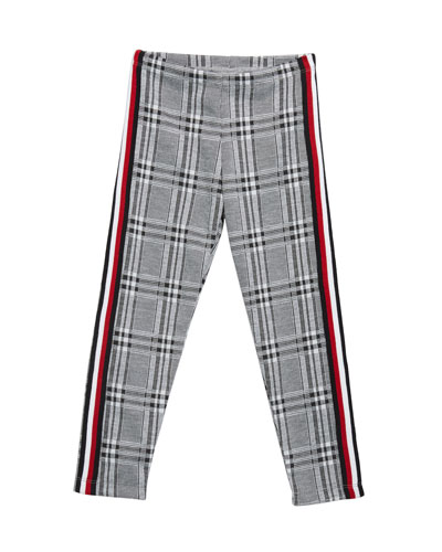 Girl's Plaid Leggings w/ Side Taping, Size S-XL