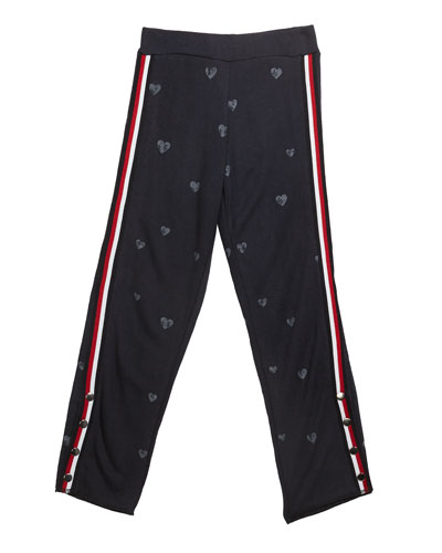 Girl's Enzyme Wash Heart Print Sweatpants, Size S-XL