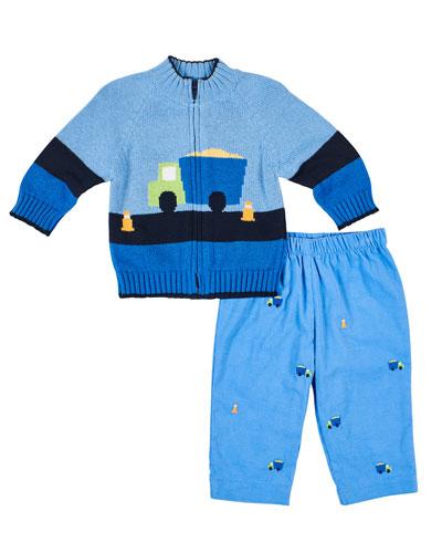 Dump Truck Zip-Up Sweater w/ Matching Pants  Size 2-4