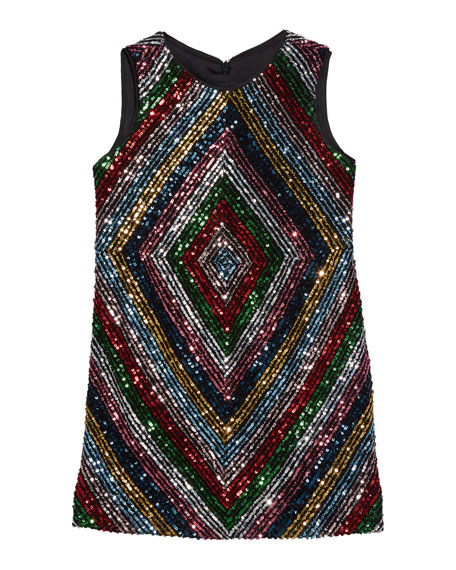 Milly Minis Girl's Rainbow Stripe Sequin Mitered Dress, Size 4-6