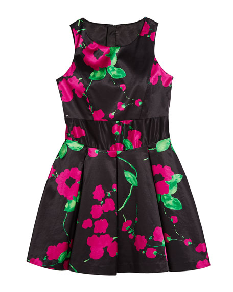 Milly Minis Painted Floral Scoop-Neck Sleeveless Dress, Size 7-16