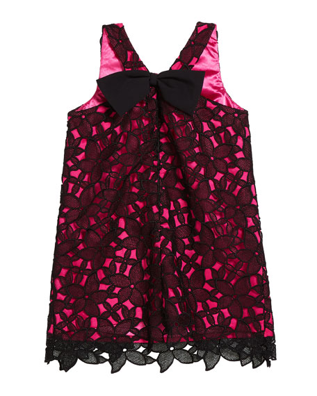 Milly Minis Kat Bow-Back Sleeveless Lace Shift Dress, Size 4-6