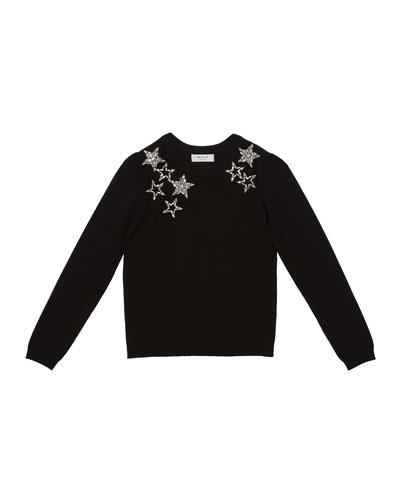 Girl's Starry Beaded Sweater, Size 7-16