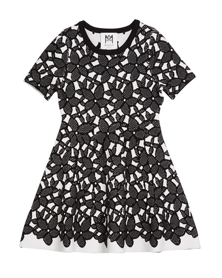 Milly Minis Floral-Mesh Jacquard Short-Sleeve Dress, Size 4-6
