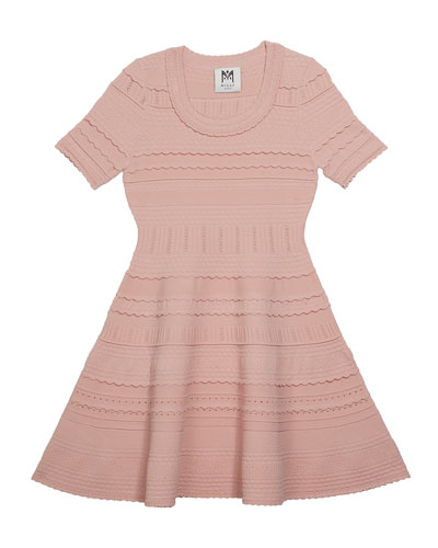 Girl's Textured Tech Flare Dress, Size 4-6
