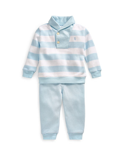 French Rib Rugby Shawl Collar Sweater w/ Joggers  Size 6-24 Months