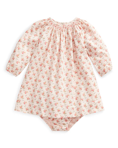 Floral-Print Smocked Long-Sleeve Dress w/ Bloomers  Size 6-24 Months