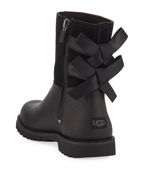 UGG Girl's Tara Suede & Leather Bow Boots, Kids
