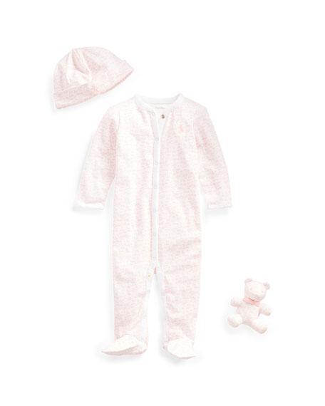 Ralph Lauren Childrenswear Printed Footie Pajamas w/ Baby Hat & Bear, Size 3-9 Months