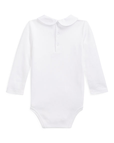 Ralph Lauren Childrenswear Peter Pan Collar Bodysuit w/ Rocking Horse Embroidery, Size 3-12 Months