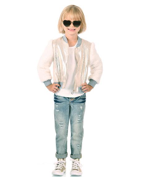Hannah Banana Girl's Metallic & Faux Fur Bomber Jacket, Size 4-6X