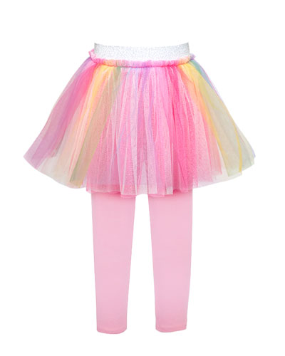 Girl's Rainbow Tulle Tutu Skirt w/ Attached Leggings  Size 4-6X
