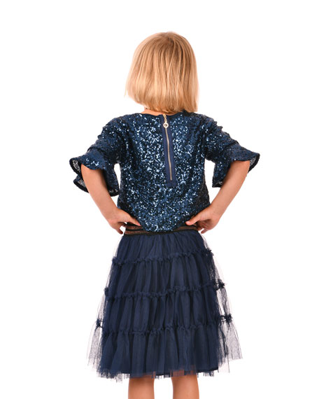 Hannah Banana Girl's Amore Sequined Top, Size 7-14