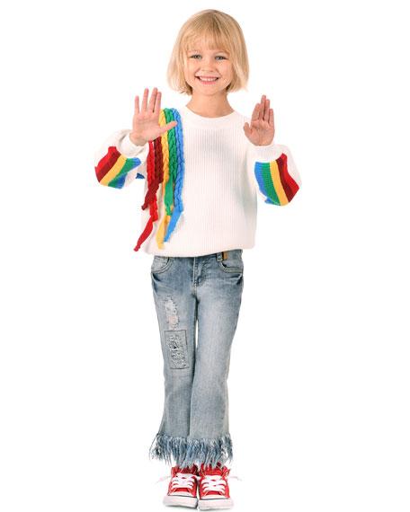 Hannah Banana Girl's Rainbow Streamers Knit Sweater, Size 7-14