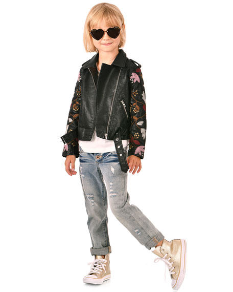 Hannah Banana Girl's Faux Leather Floral Embroidery Jacket, Size 4-6X