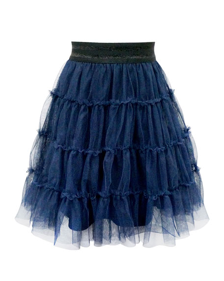 Hannah Banana Girl's Tiered Ruffle Tulle Skirt, Size 7-14